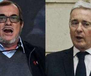 Rodrigo Londoño y Álvaro Uribe.