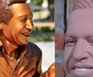 Estatua de Diomedes Díaz, y la de su hijo, Martín Elías.