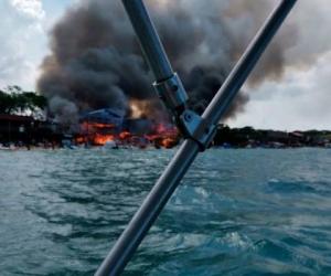 Incendio en Playa Blanca, Cartagena