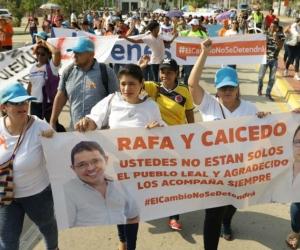 Movilizaciones en apoyo a Rafael Martínez y Carlos Caicedo.
