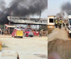 La explosión produjo un voraz incendio que tuvo que ser controlado por los Cuerpos de Bomberos de Barranquilla.