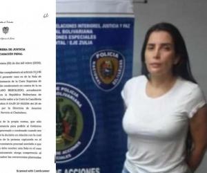 Documento de solicitud de extradición y Aida Merlano.