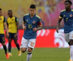 James Rodríguez en acción de partido.