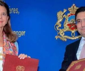 Marta Lucía Ramírez y el canciller marroquí.