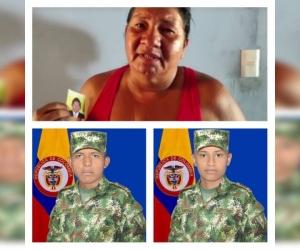Madre del soldado banqueño, con una foto de su hijo clama por su pronta liberación.