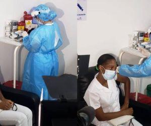 Marcia Blandón, la primera vacunada contra el coronavirus en el departamento.