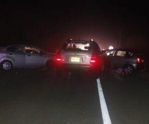 Aspecto del choque de los tres vehículos.