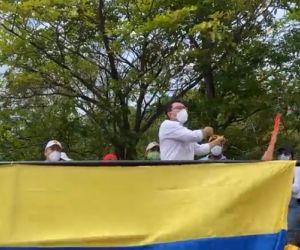 Caicedo durante las protestas.