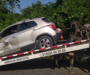 Así quedó uno de los vehículos implicados en el accidente.