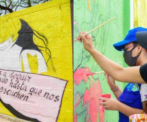 La obra plasmada en las paredes exteriores de la Alma Mater describe las emociones que vive la juventud en el marco del paro nacional.