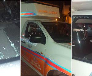 Parte de los daños que sufrió la ambulancia.