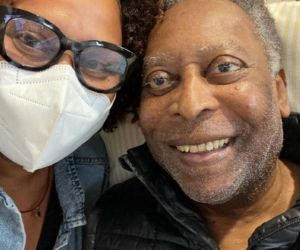 Pelé junto a su hija, Kely Nascimento