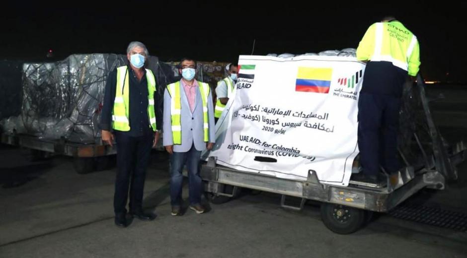 Llegada de donaciones hechas por Emiratos Árabes.
