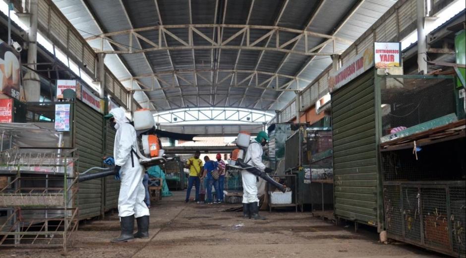 Desinfección del mercado de Valledupar.