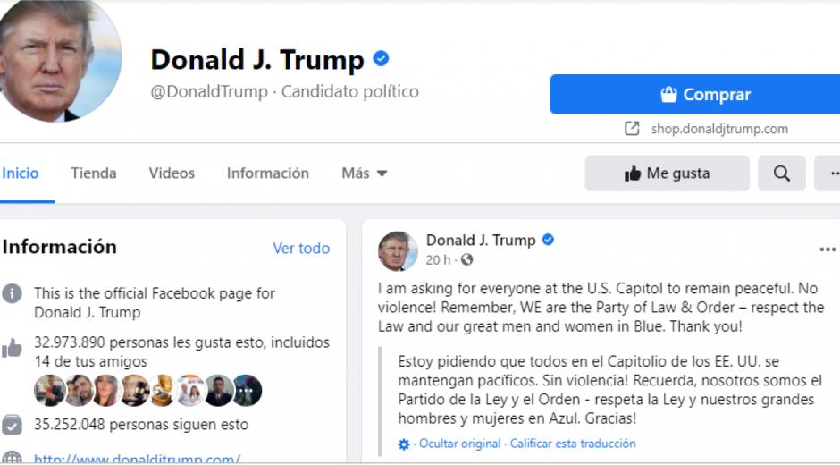 Facebook de Donald Trump.