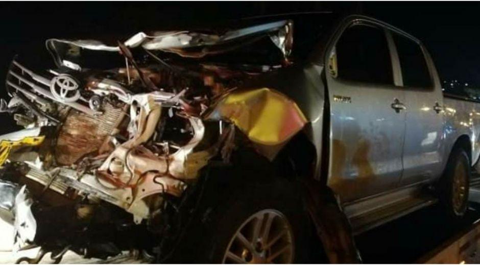 Así quedó la camioneta involucrada en el accidente.