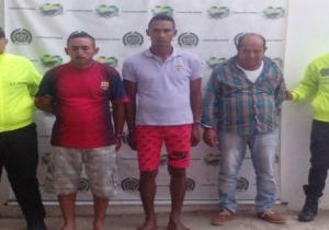 Aspecto de los capturados por las autoridades policiales del Magdalena.