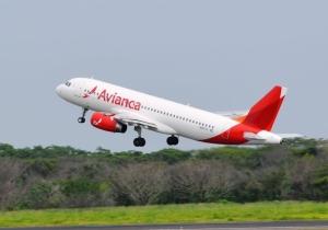 Ilustración de un avión de la empresa Avianca.