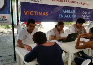 El punto de atención a víctimas recientemente participó en las Ferias de la Equidad, en el barrio la Paz.