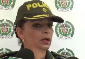 Coronel Sandra Vallejos, comandante de la Policía Metropolitana de Santa Marta, en rueda de prensa.