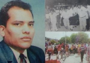 Roque Morelli Zárate fue decano de Educación de la Universidad del Magdalena hasta el día de su muerte, el 5 de septiembre de 2002. Arriba, a la derecha, la salida del féretro del docente a su última morada. Abajo, el lugar donde fue baleado