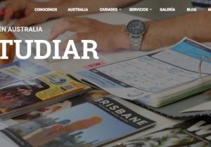 Portal promocionando la asesoría educativa en Australia.